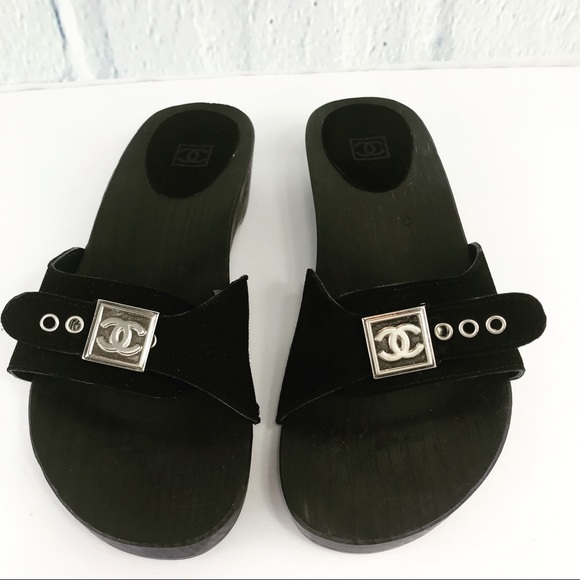 a71f0bb7e2f2 CHANEL Shoes - Black Chanel Wooden Suede Slip on Sandals Size 37